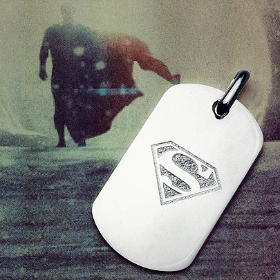 Custom Engraved Dog Tag Necklace with Superman Symbol