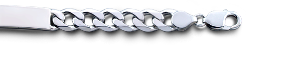 Mens 300 Sterling Silver Cuban Link ID Bracelet