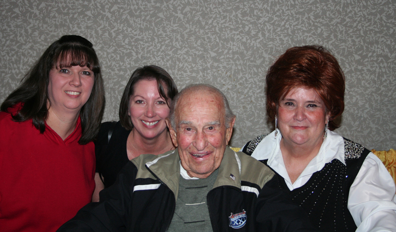 Sol, at his 100th Birthday Party at the 2006 North American Shuffleboard Championships, with Kathy, Linda & Lorraine