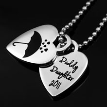 Personalized logo on stainless steel heart necklace