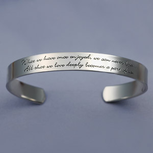 Personalized cuff bracelet example of pre-engraved jewelry