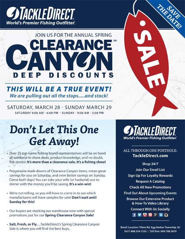 Tackledirect clearance canyon sale is back for Fishing tackle closeouts