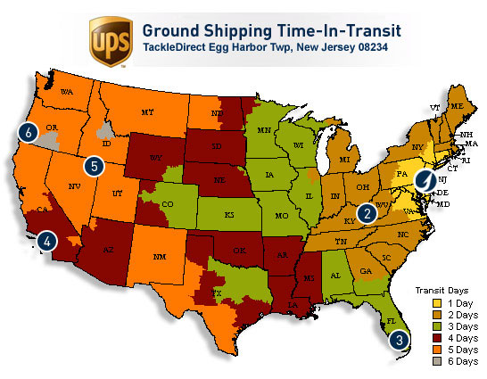 UPS Ground Time In-transit Map