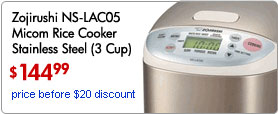 Zojirushi NS-LAC05 Micom Rice Cooker Stainless Steel (3 Cup)
