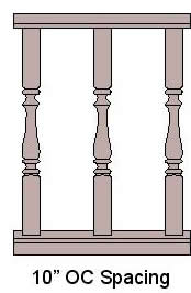 10'' On Center Baluster Spacing