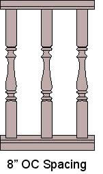 8'' On Center Baluster Spacing
