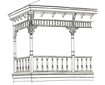 Three-Dimensional Porch Drawing