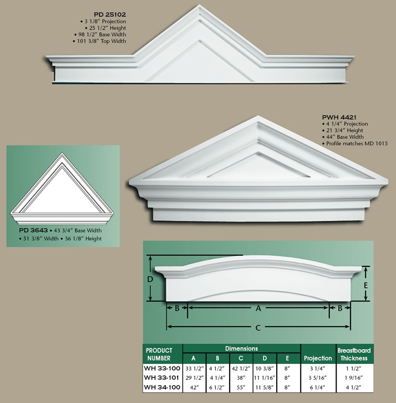 Sunburst pediments joy studio design gallery best design for Exterior pediments