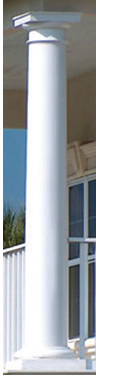 Round Tapered Columns shown with Tuscan Base and Cap