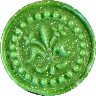 green metallic glue gun sealing wax