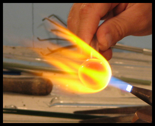 A torch burning at an incredible 5,300 degrees Fahrenheit