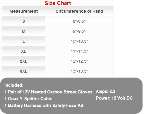 Venture Heated Motorcycle Gloves 12V heated Street Gloves