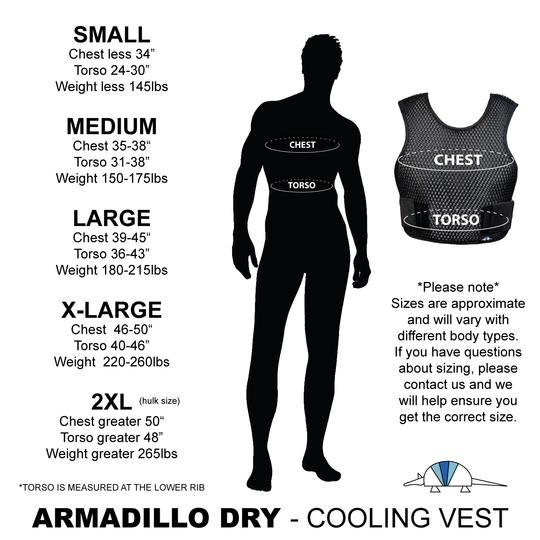 armadillo dry cooling vest size chart