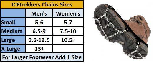 iceTrekkers chains size chart