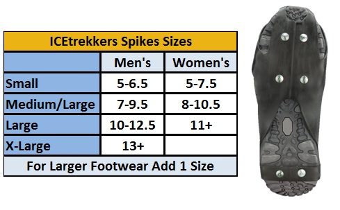 Icetrekkers spike size chart