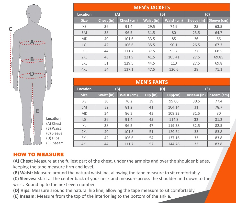 Mobile Warming Heated Clothing Size Chart Men
