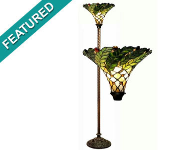 Tiffany Style Green Leafy Torchiere Lamp by Warehouse of Tiffany 3742#+BB75B