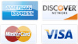 we accept american express, discover, mastercard, visa