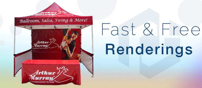 Fast and free quotes for your custom print pop up tents.