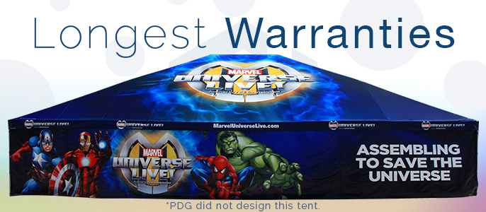 Longest warranties; be confident that your promotional tent will last you for a long time.