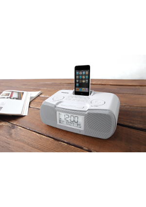 Sangean-RCR-10-white<br>Atomic&nbsp;Clock&nbsp;Radio<br>Compatible&nbsp;with&nbsp;iPod<br><br>