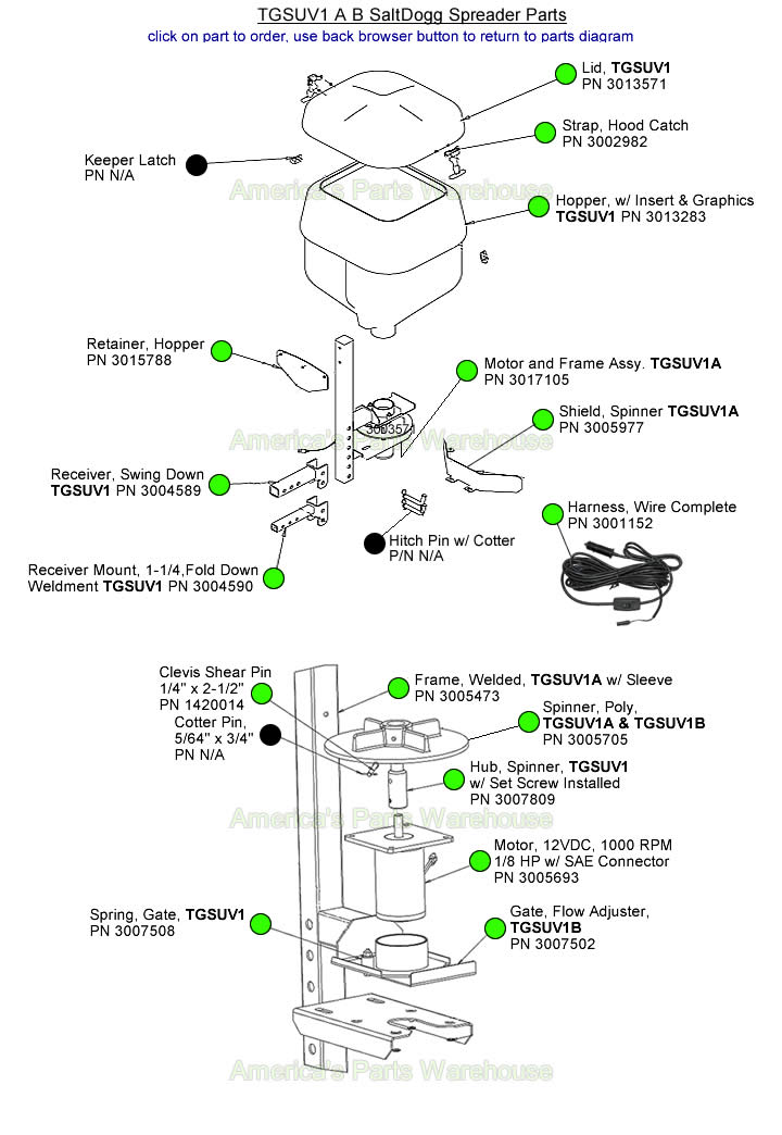 SaltDogg TGSUV TGSUV1A TGSUV1B Spreader Part Diagram