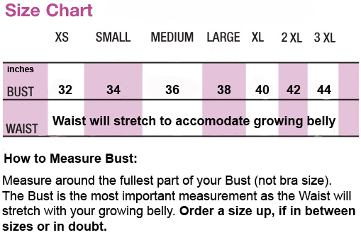 Trendy Tummy Maternity Formal & Cocktail Dresses Size Chart