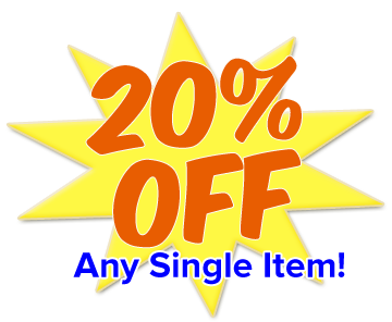 20% OFF Any Single Item!