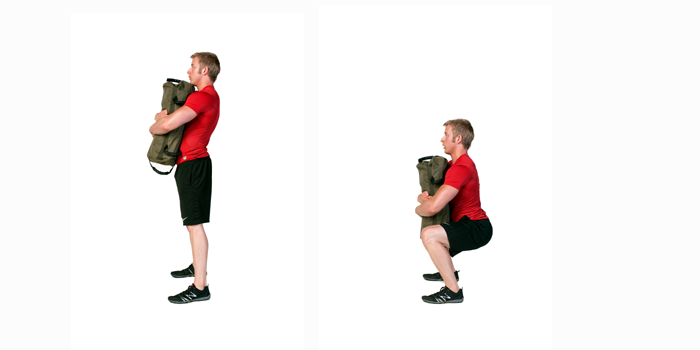 sandbag exercise bear hug squat