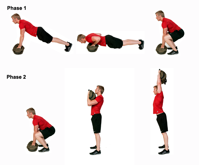 Exercise Burpee http://www.ultimatebodypress.com/sand-bag-exercise-burpee.html