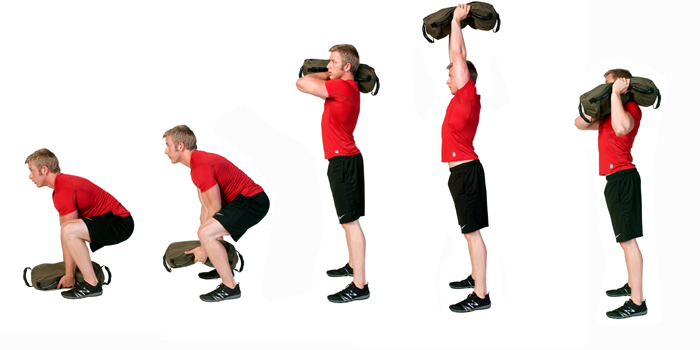 sandbag exercise - shouldering to press