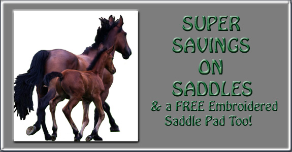 Super Savings on Saddles & a FREE Embroidered Saddle Pad Too!