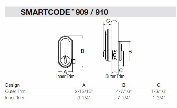 909 Smart Code Deadbolt Dimensions
