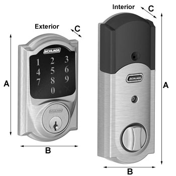 Camelot Touchscreen Deadbolt Dimensions
