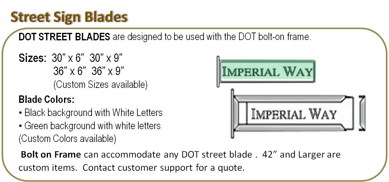 DOT Street Sign Blades and Frames