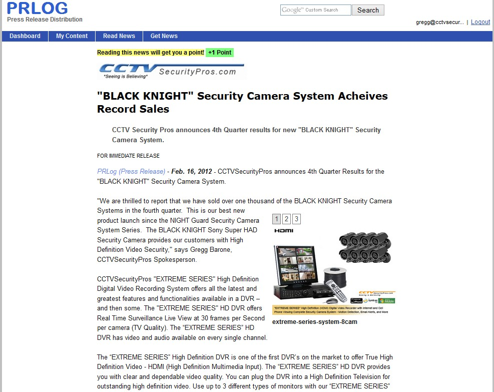 BLACK KNIGHT Security Camera System Acheives Record Sales