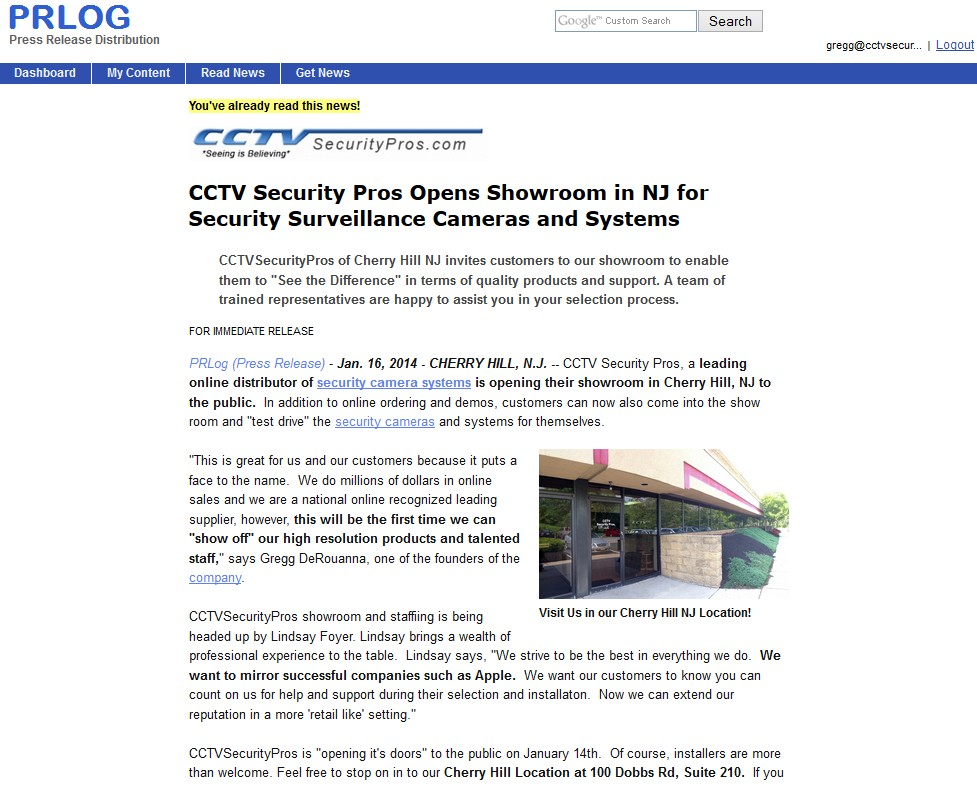 CCTV Security Pros Opens Showroom in NJ for Security Surveillance Cameras and Systems
