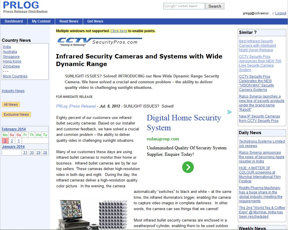 Infrared Security Cameras and Systems with Wide Dynamic Range