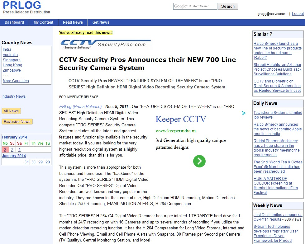 CCTV Security Pros Announces their NEW 700 Line Security Camera System