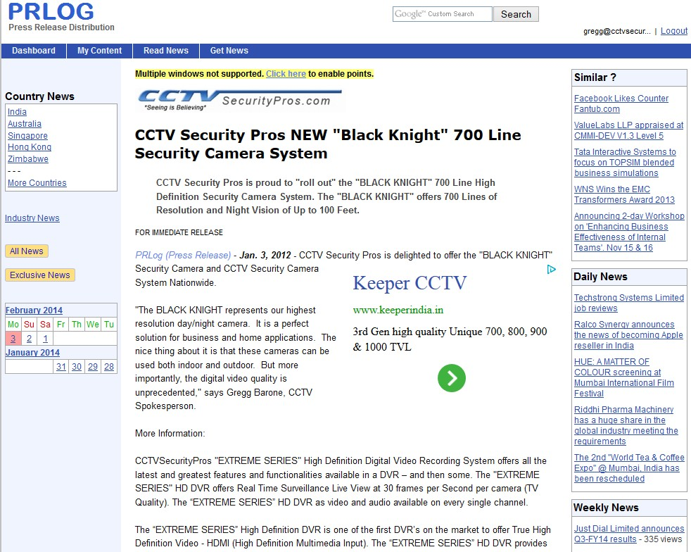 CCTV Security Pros NEW Black Knight 700 Line Security Camera System