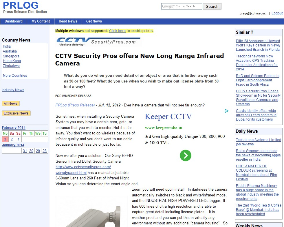 CCTV Security Pros offers New Long Range Infrared Camera