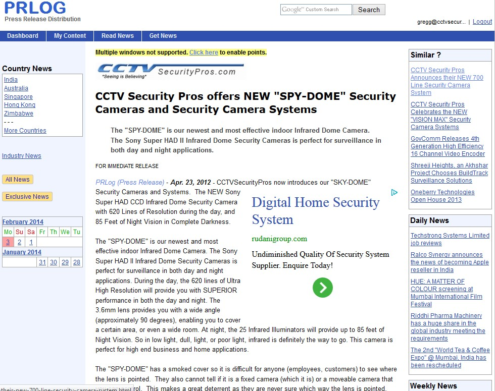 CCTV Security Pros offers NEW SPY-DOME Security Cameras and Security Camera Systems