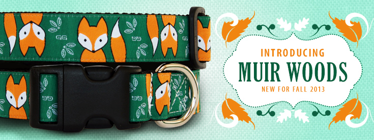New Fox Dog Collar Pattern for Fall 2013. Muir Woods by GwenGear San Francisco.