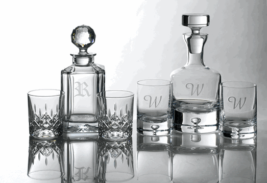 Engraved Crystal Decanter Sets, Personalized Scotch Decanter sets