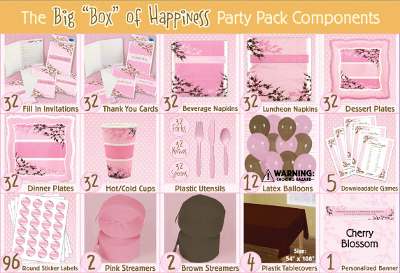 Cherry Blossom Bridal Shower Party Pack
