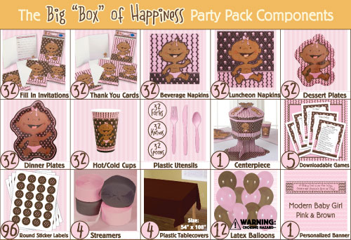 Modern Baby Girl African American Baby Shower Party Pack