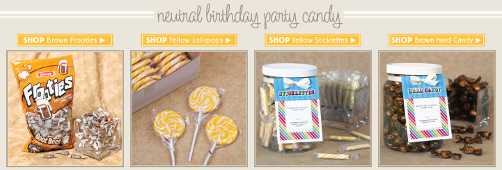 Brown and Yellow Neutral Birthday Party Candy
