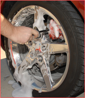 The Daytona Speed Master Wheel Brush cleans the entire wheel, front to back.