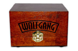 Wolfgang's signature heirloom box is handmade for each jar of Wolfgang F�zion Estate Wax.