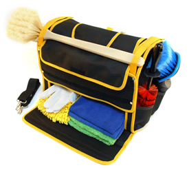 The bottom pocket holds microfiber towels, wash mitts, applicators and detailing supplies.